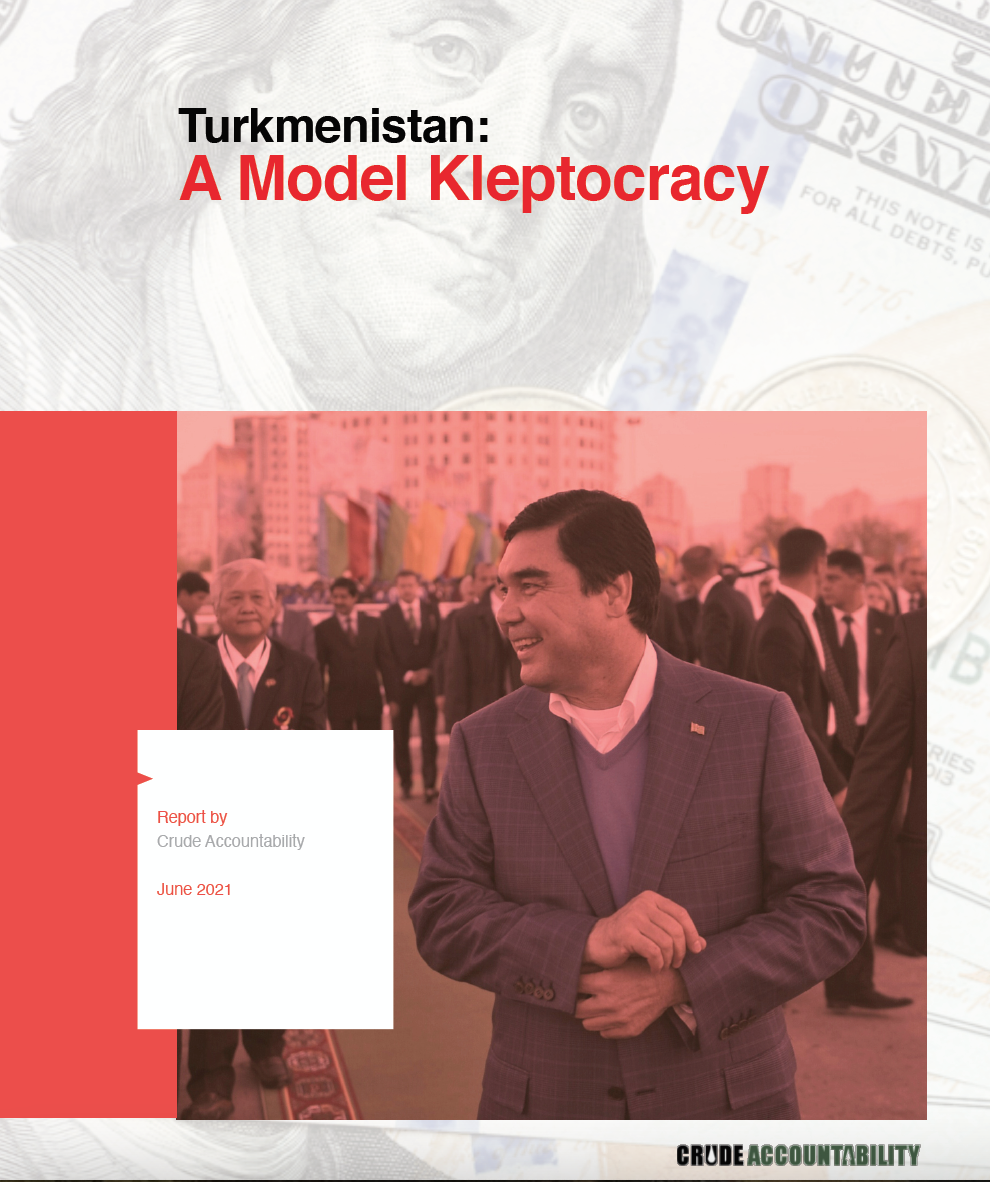 This picture shows the cover of the report, featuring President Berdymukhamedov